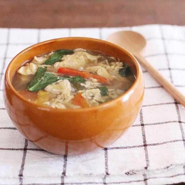 れんこんのとろみ卵の付け合わせに生姜スープ