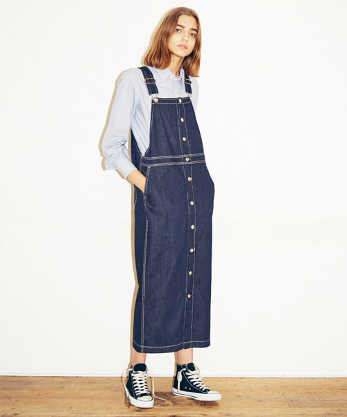 [JAPAN BLUE] フロントボタンデニムジャンパースカート