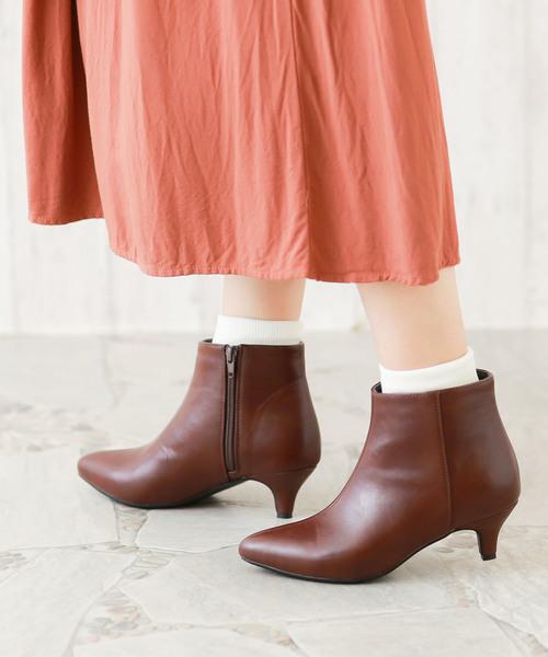 [Outletshoes] 【FW19新色追加】選べる 内側ふかふかファータイプ ポインテッドトゥ 5cm ヒール ショートブーツ サイドジップブーツ 裏起毛ブーツ