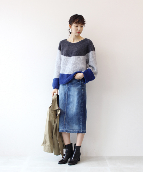 [DRESSLAVE] Sugar Rose / color block mohair pull(カラーブロックモヘアニット)