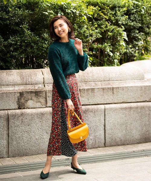 [tocco closet] アシメドット切替花柄スカート