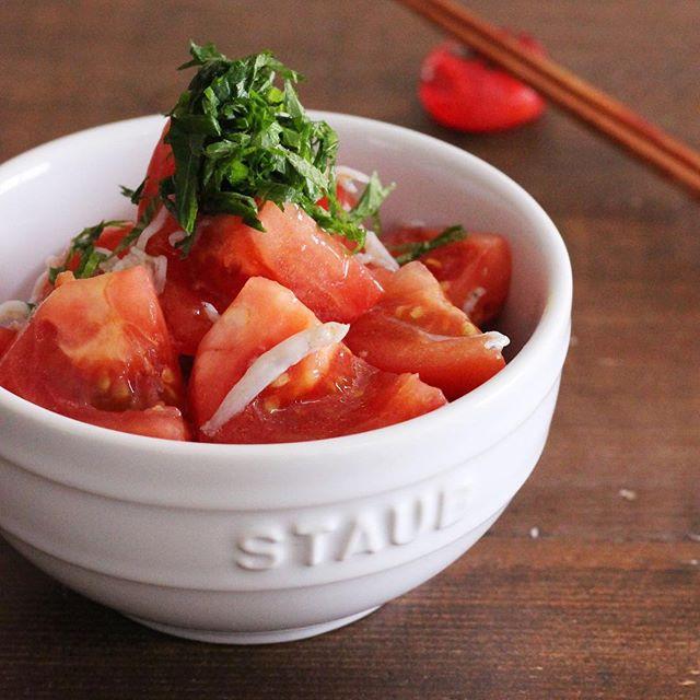 トマトとしらすの付け合わせに塩わさびサラダ