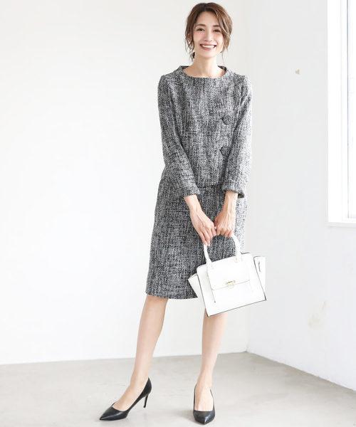 [C.R.E.A.M] フロントオープン ツイード セットアップ ジャケット スカート フォーマル スーツ【2点セット】結婚式