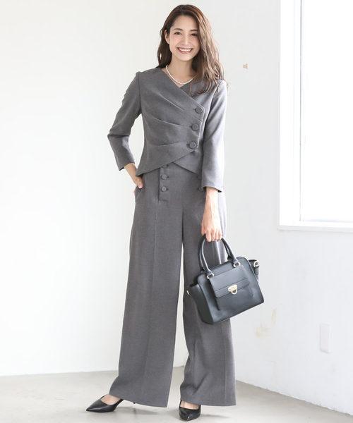 [C.R.E.A.M] 3タック ジャケット セットアップ フォーマル ワイドパンツ ロング パンツ スーツ【2点セット】結婚式