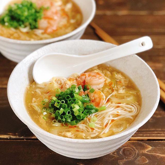 卵と海老を付け合わせ!煮魚とスーラータン素麺