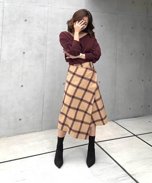 [Denime] 【CIEL'AIR/シエルエアー】チェックラップスカート