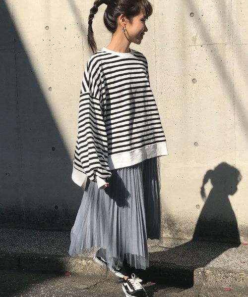 [me Jane] チュール×サテンプリーツスカート