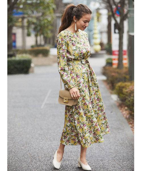 [tocco closet] ウエストベルト付きマキシ花柄ワンピース