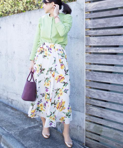 [ALL ORDINARIES] 花柄ギャザーフレアロングスカート