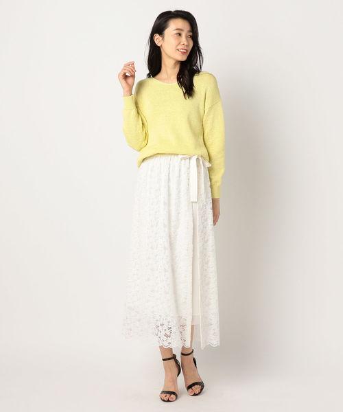 [NOLLEY'S] フラワーレースラップレイヤードスカート