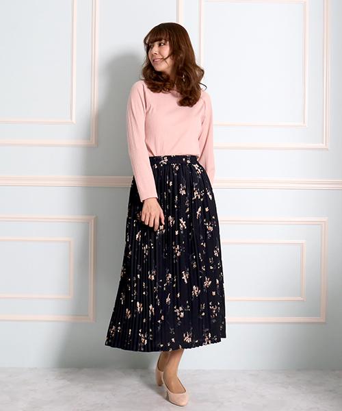 [MARLENE JOBERT] 春に可愛い プリーツ花柄スカート