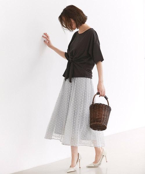 [tocco closet] 《高田麻紀子さん着用》フラワー刺繍楊柳フレアスカート