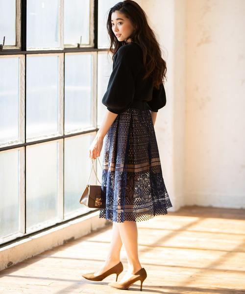[tocco closet] 刺繍レースタックスカート
