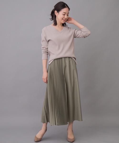 [Munich] ポリエステルツイルプリーツロングスカート