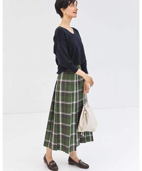 [green label relaxing] SC チェック プリーツ スカート
