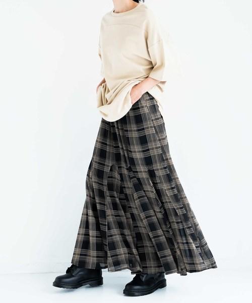 [INTER FACTORY] INTER FACTORY チェックフレアロングスカート