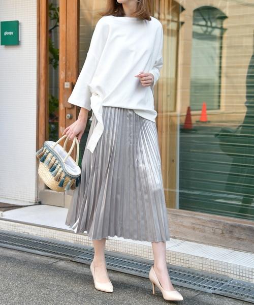[REPIDO] サテンプリーツロングスカート