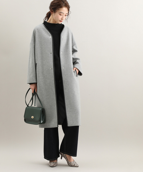 [ViS] 【WEB限定】二重織りメルトンパイピングコクーンコート