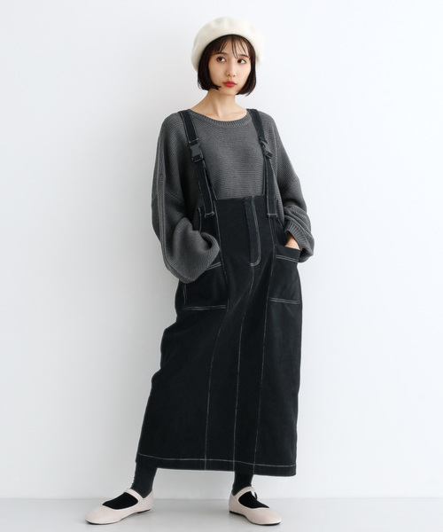 [merlot] コーデュロイ配色ステッチワークサロペットスカート3270