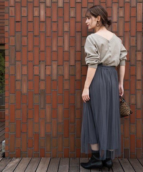 [TIENS ecoute] 【WEB限定】チュール消しプリーツスカート