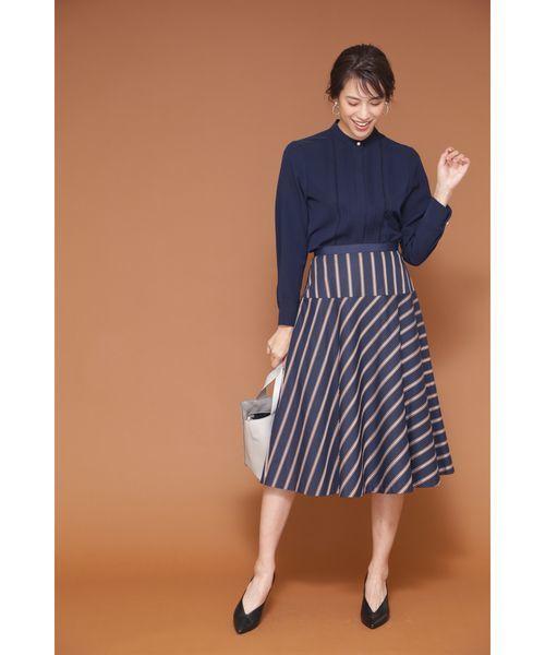 [NATURAL BEAUTY] ◆[WEB限定商品]サテンストライプフレアースカート