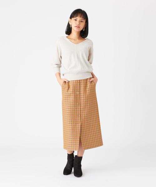 [EMMEL REFINES] 【otonaMUSE12月号掲載】SMF ツイードチェック クリアボタン Iラインスカート