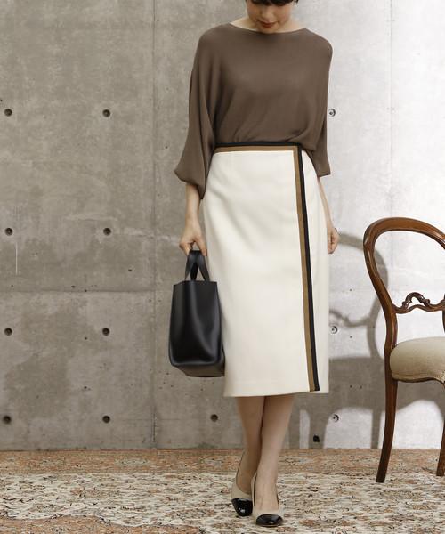 [TIARA] カラーブロックタイトスカート