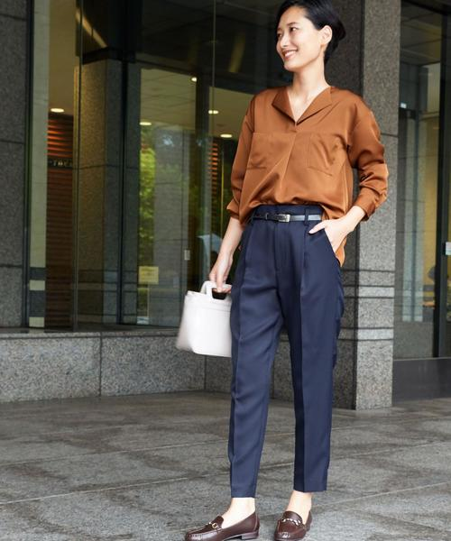 [green label relaxing] 【WORK TRIP OUTFITS】CS P S ソフトツイル ベルト付きテーパード