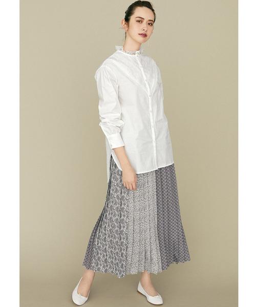 [FELISSIMO] IEDIT オリジナルプリントを組み合わせた ドラマチックなパネル柄ロングプリーツスカート