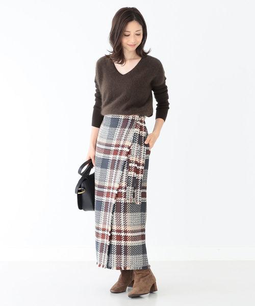 [BEAMS WOMEN] Demi-Luxe BEAMS / チェックツイード ラップスカート