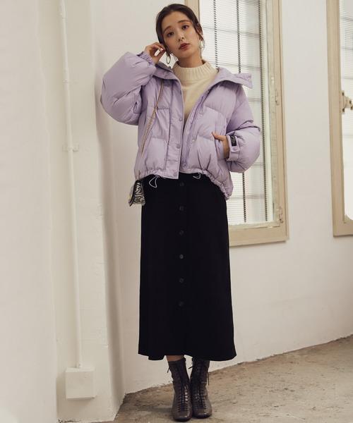 [mysty woman] 前ボタンナロージャンパースカート 856801