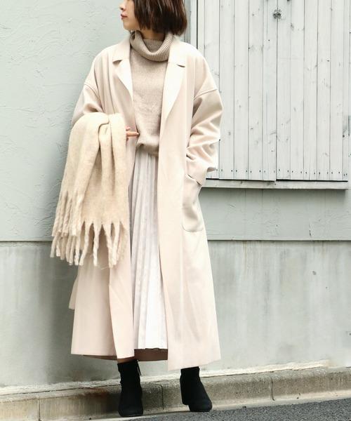[VENCE share style] サイドスリットビックロングコート