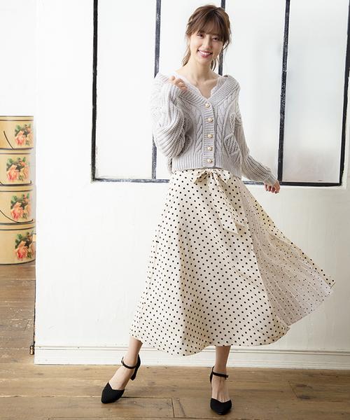 [PATTERN・fiona] ドットアシメスカート