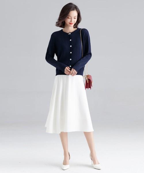 [SAISON DE PAPILLON] オフィス対応・ロングシーズン使えるミモレ丈フレアスカート