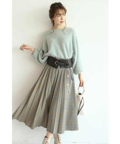 [Apuweiser-riche] ベルト付フロントプリーツスカート