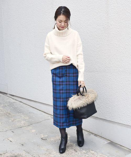 [SHIPS for women] タータンチェックタイトスカート◆