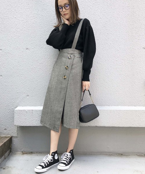 [PICCIN] ヘリンボーンツイードラップスカート
