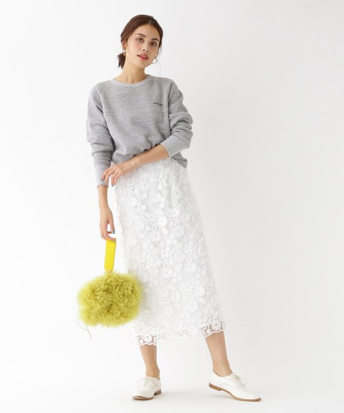 [aquagirl] フラワーレースミモレタイトスカート