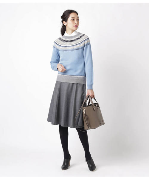 [NEWYORKER] ウールボタニー 知的サーキュラースカート