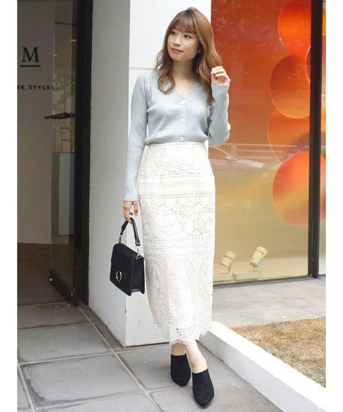 [MERCURYDUO] 配色ケミカルレースタイトスカート