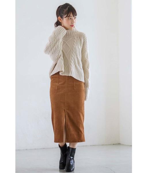 [GeeRA] 【WEB限定】コーデュロイポケット付タイトスカート