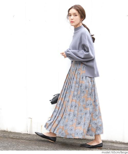 [coca] 大花柄ロング丈プリーツスカート