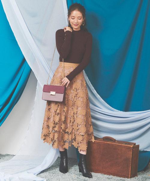 [Noela] ◆スエード刺繍レーススカート