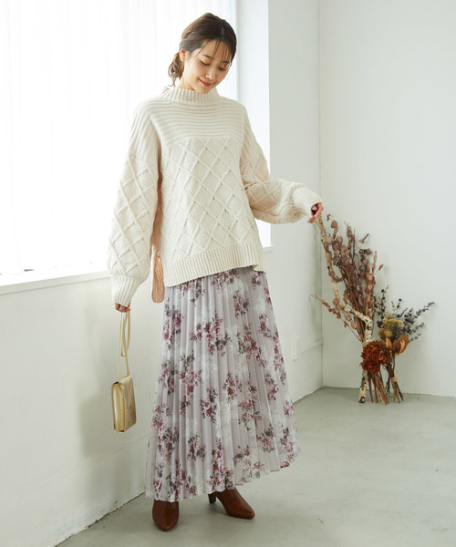 [ROPE' PICNIC] 【WEB限定】ニュアンス花柄プリーツスカート