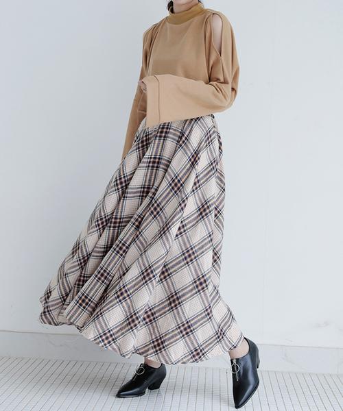 [Futierland&SASA] たっぷりフレアのチェック柄ロングスカート