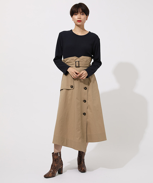 [AZUL BY MOUSSY] TRENCH DOCKING ONEPIECE/トレンチドッキングワンピース