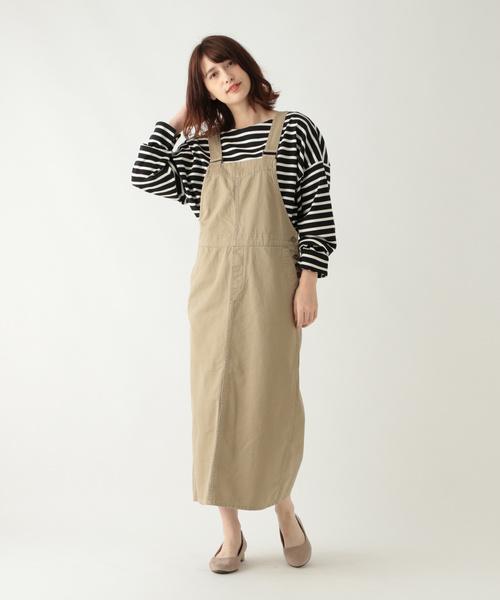 [studio CLIP] コットンチノサロペットスカート