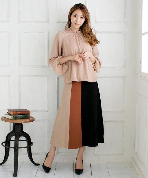 [Julia Boutique] カラーブロックフレアニットスカート/510504