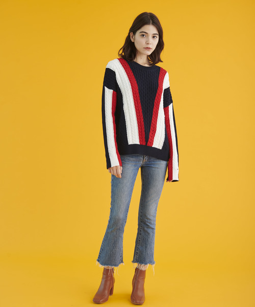 [TOMMY HILFIGER] カラー ブロック ケ-ブル セーター
