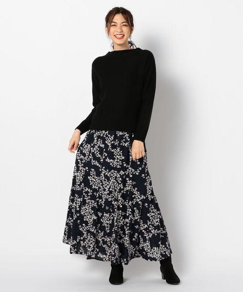 [FREDY&GLOSTER] 花柄パネル切り替えスカート